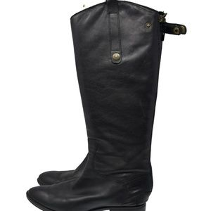 Sam Edelman Black Leather Zip Up Mid Calf Sz 8.5M